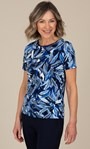 Anna Rose Textured Floral Top Blue - Gallery Image 1