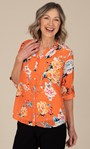 Anna Rose Floral Print Blouse With Necklace Orange Multi - Gallery Image 1