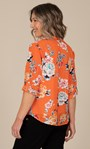 Anna Rose Floral Print Blouse With Necklace Orange Multi - Gallery Image 2