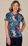 Anna Rose Abstract Print Top Blue/Coral Multi - Gallery Image 1
