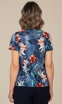 Anna Rose Abstract Print Top Blue/Coral Multi - Gallery Image 2