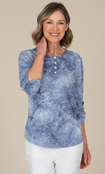 Anna Rose Print And Tie Die top Denim Blue