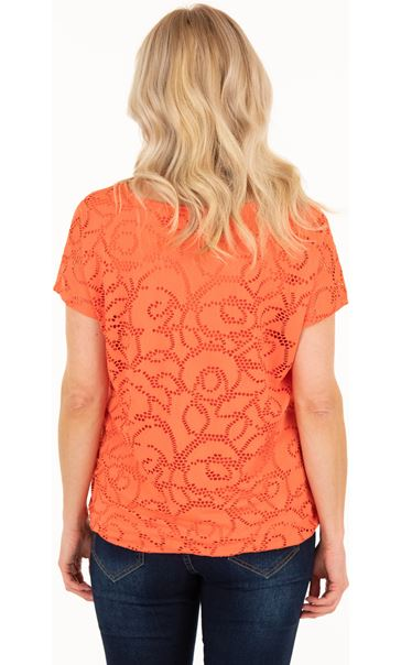 Short Sleeve Jacquard Jersey Top - Orange