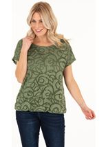 Short Sleeve Jacquard Jersey Top