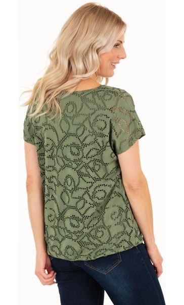 Short Sleeve Jacquard Jersey Top - Khaki