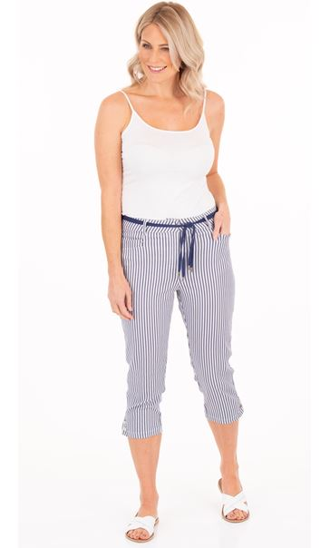 Cropped Stripe Stretch Trousers