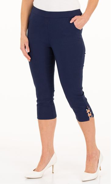 Anna Rose Cropped Embellished Trousers Navy