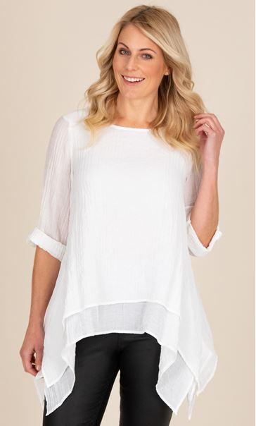 Crinkle Double Layered Dip Hem Tunic