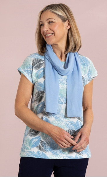 Anna Rose Leaf Print Knit Top With Scarf Mint/Blue