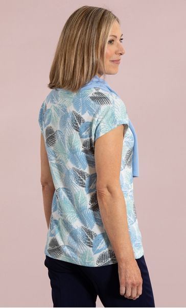 Anna Rose Leaf Print Knit Top With Scarf - Multi