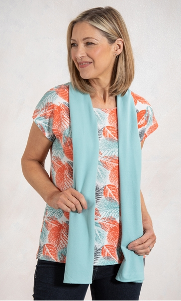Anna Rose Leaf Print Knit Top With Scarf - Coral
