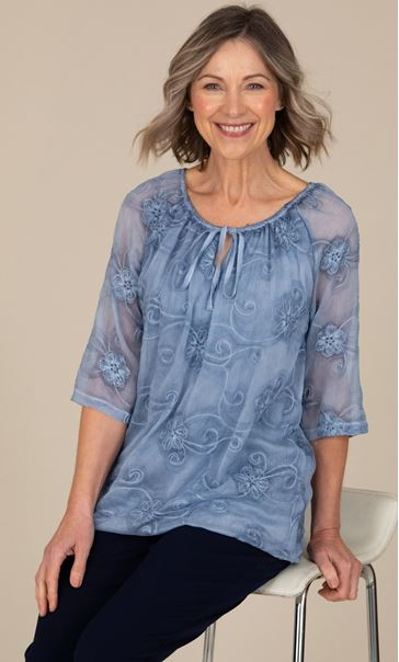 Anna Rose Embroidered Boho Chiffon Top