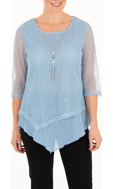 Anna Rose Mesh Layer Top With Necklace Blue