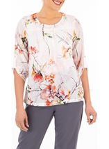 Anna Rose Embellished Garden Print Top