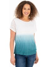 Ombre Textured Short Sleeve Jersey Top