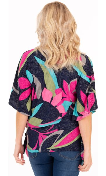 Bold Floral Print Jersey Top