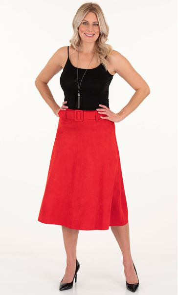 Suedette Belted Midi Skirt - Red