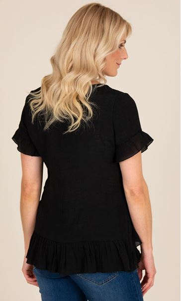 Frill Trim Short Sleeve Top - Black