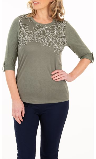 Anna Rose Embellished Border Print Jersey Top