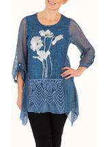 Anna Rose Embellished Foil Print Top