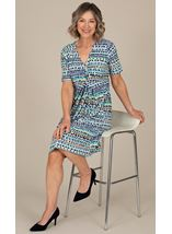 Anna Rose V Neck Jersey Print Dress