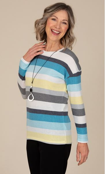 Anna Rose Stripe Jersey Top With Necklace Blue/Multi