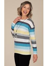 Anna Rose Stripe Jersey Top With Necklace