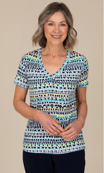 Anna Rose V Neck Jersey Print Top Ivory Multi