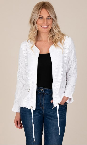 Perforated Long Sleeve Zip Jacket White