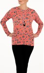 Anna Rose Animal Print Top With Necklace Coral/Black - Gallery Image 1