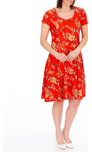 Anna Rose Floral Textured Jersey Dress Red Multi