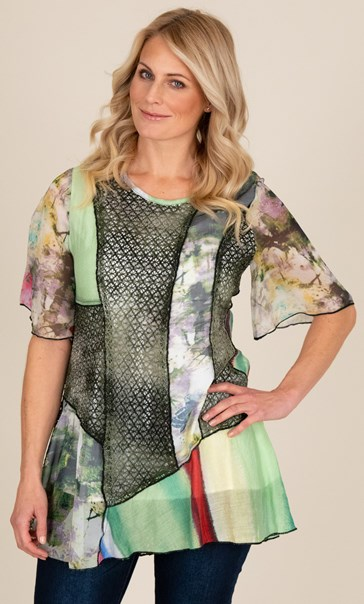 Printed Patchwork Short Sleeve Top