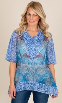 Animal Printed Short Sleeve Cowl Neck Top