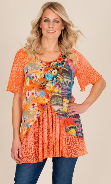 Printed Layered Short Sleeve Top Orange
