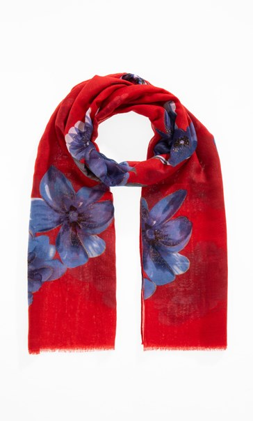 Anna Rose Floral Shimmer Scarf - Red