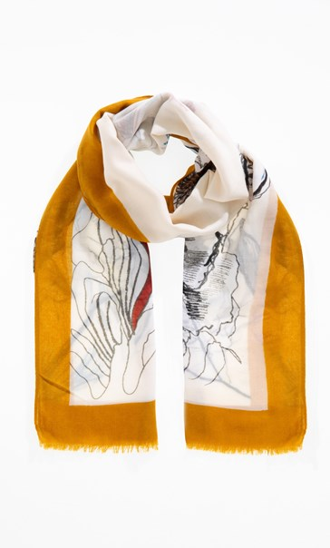 Anna Rose Floral Sketch Print Scarf Yellow