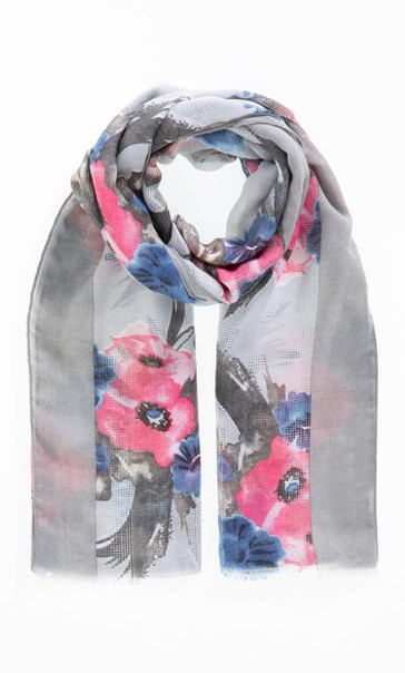 Anna Rose Bouquet Print Scarf Grey