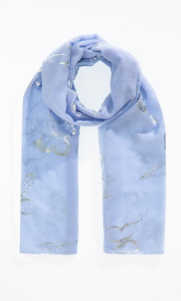 Anna Rose Foil Butterfly Print Scarf Blue