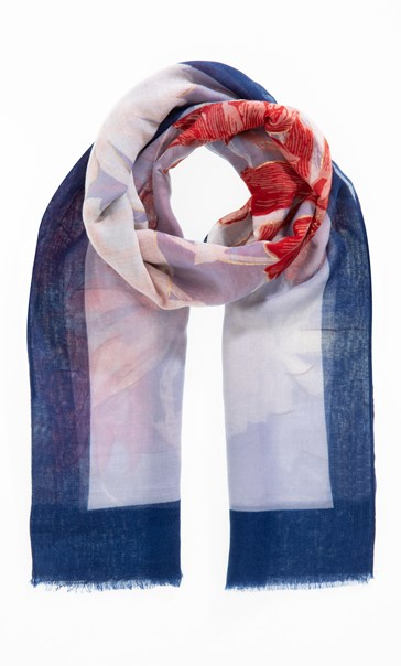Floral Printed Lightweight Scarf Navy/Red