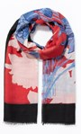 Floral Printed Lightweight Scarf Black/Red - Gallery Image 1