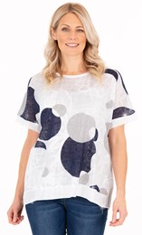 Sequin Trim Circle Print Top
