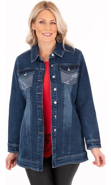 Embellished Long Denim Jacket