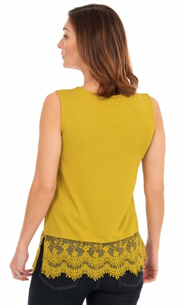 Lace Trim Sleeveless Jersey Top - Golden Olive