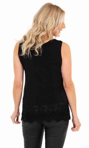 Lace Trim Sleeveless Jersey Top - Black