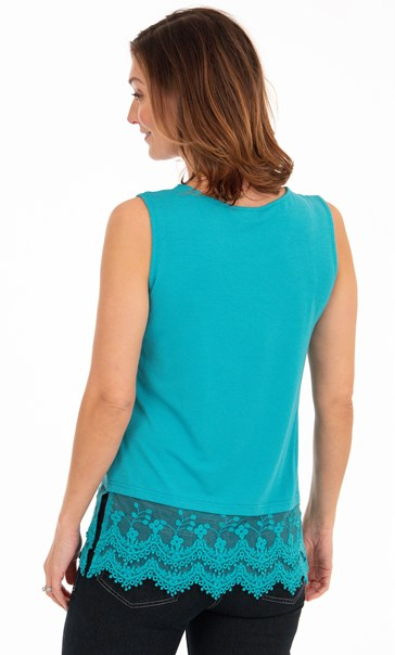Lace Trim Sleeveless Jersey Top - Turquoise