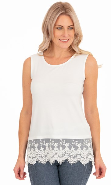 Lace Trim Sleeveless Jersey Top - Ivory