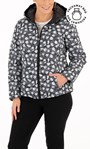 Anna Rose Floral Print Hooded Pack Away Coat Black/White - Gallery Image 1