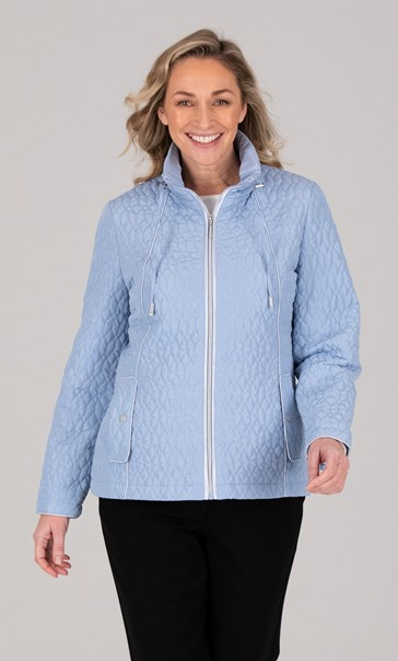 Anna Rose Zip Up Quilted Jacket Sky Blue