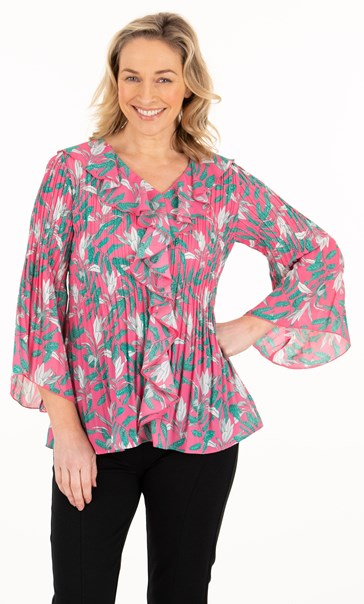 Georgette Floral Pleated Frill Top