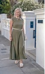 Sleeveless Textured Jersey Maxi Dress Olive - Gallery Image 1